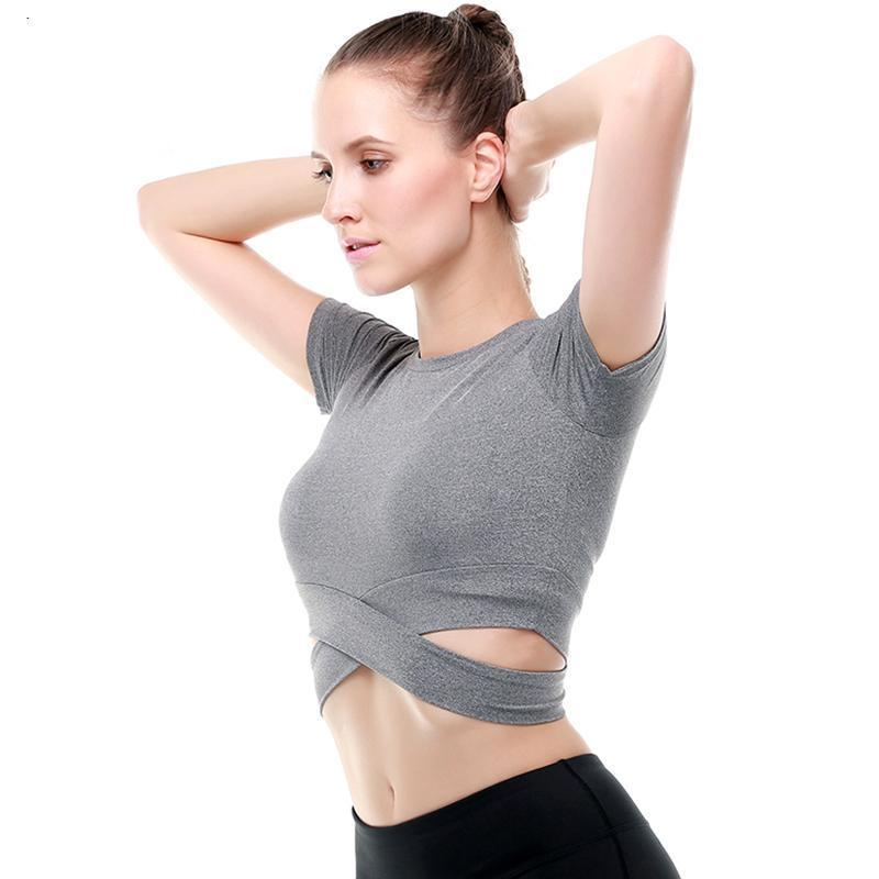 Criss-Cross Short Sleeve Crop Workout Top Sports Bras Loom Rack Gray S