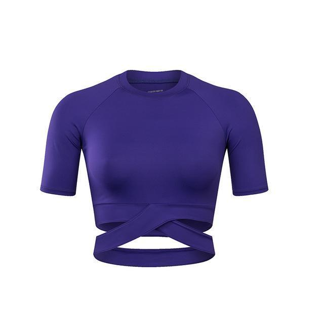 Criss-Cross Short Sleeve Crop Workout Top Sports Bras Loom Rack Purple S