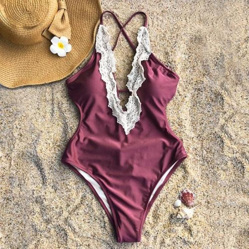 Crochet V-Neck One-Piece Swimsuit Swimsuits 2019 Loom Rack Red S