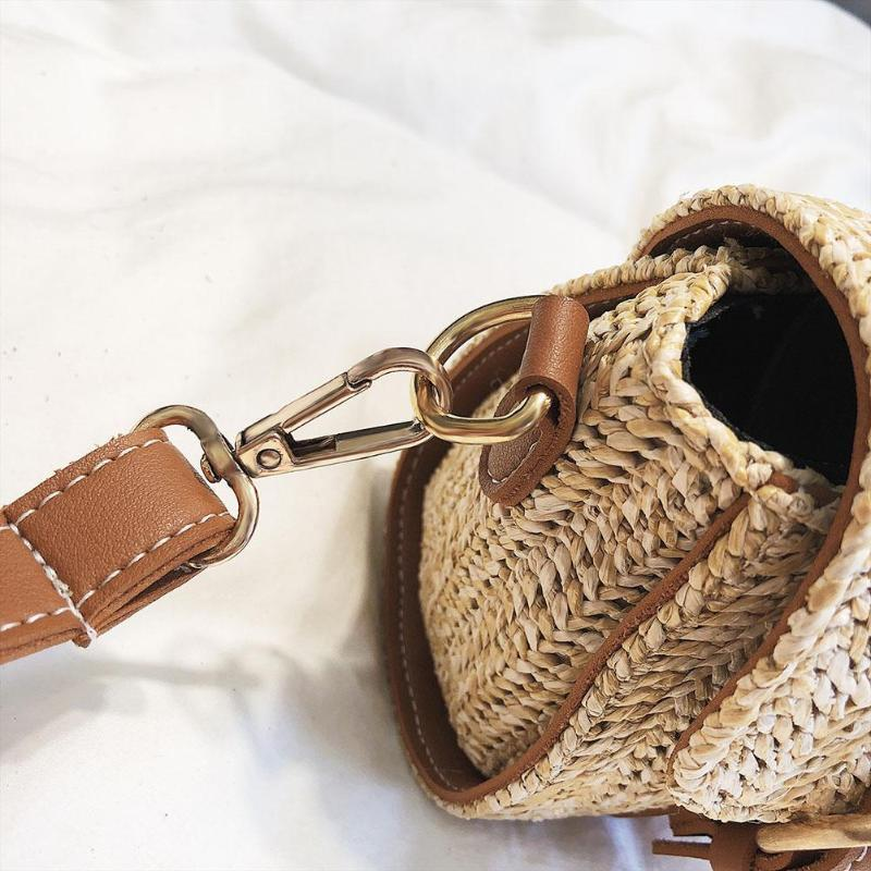 Crossbody Braided Straw Messenger Bag Top-Handle Bags Loom Rack