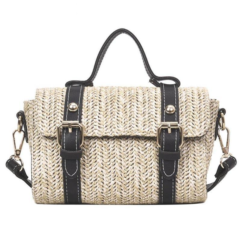 Crossbody Braided Straw Messenger Bag Top-Handle Bags Loom Rack Black