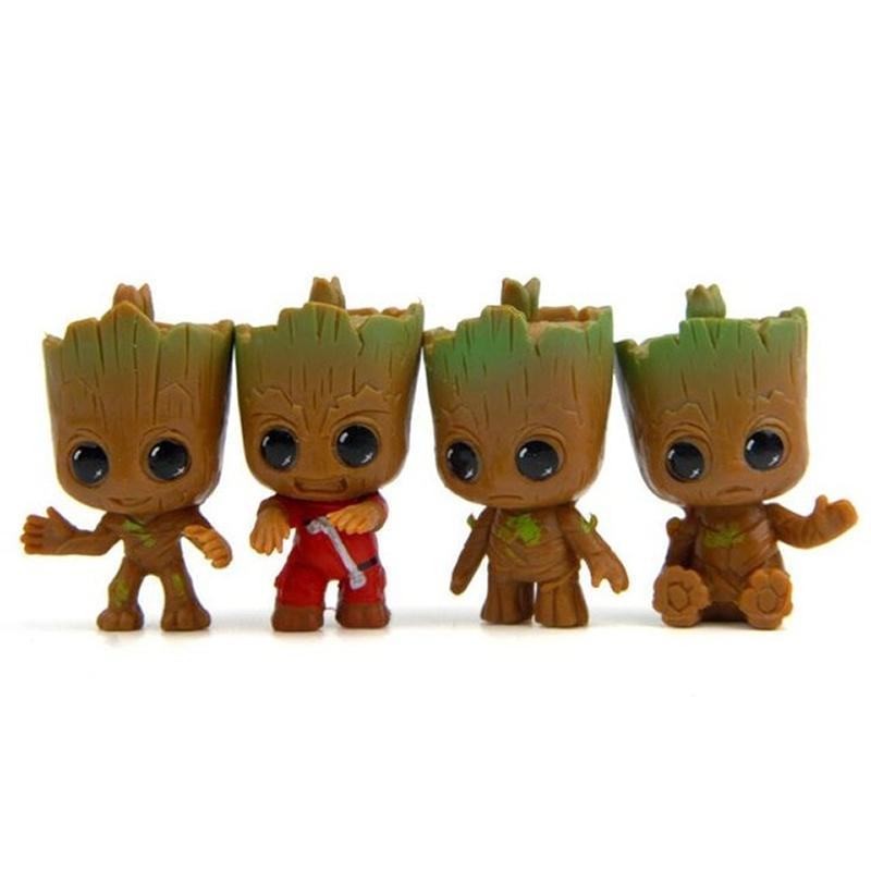 Cute Baby Groot Tree Flower Pot Key Chain (4 pcs.) Flower Pots & Planters Loom Rack 4pcs Figures