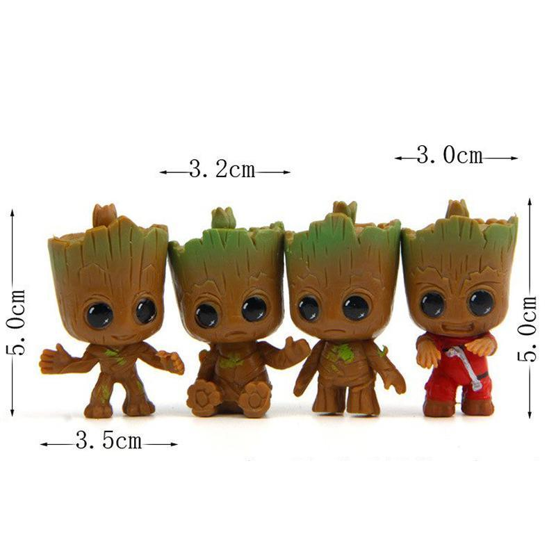 Cute Baby Groot Tree Flower Pot Key Chain (4 pcs.) Flower Pots & Planters Loom Rack