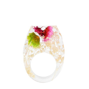 Delicate Resin Flower Rings Rings Loom Rack 6 03