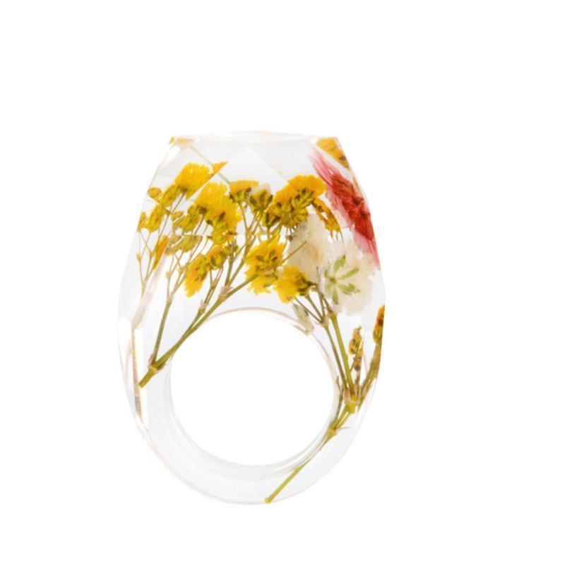 Delicate Resin Flower Rings Rings Loom Rack 6 04