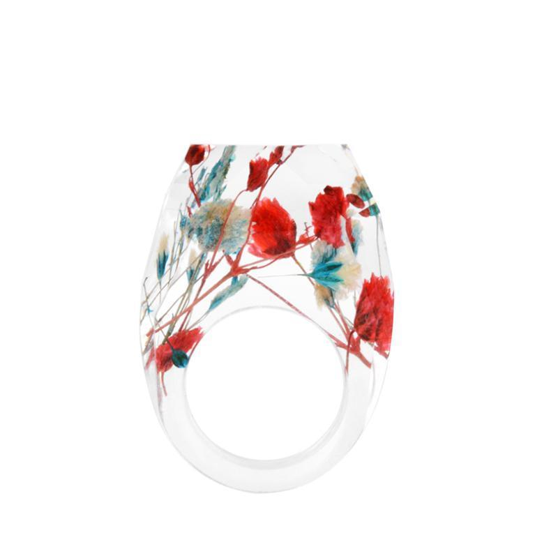 Delicate Resin Flower Rings Rings Loom Rack