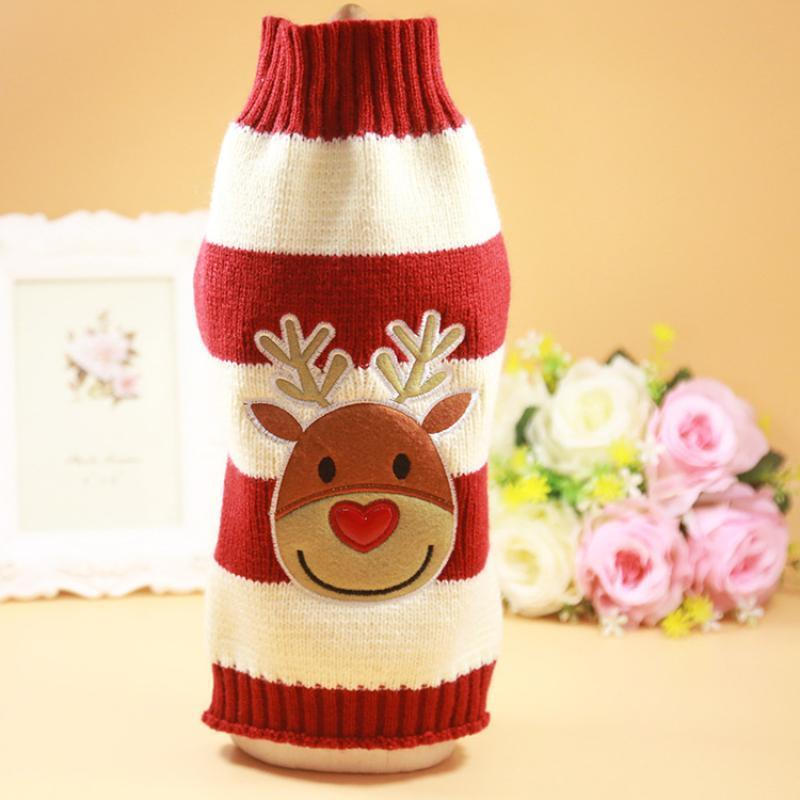 Dog Cat Striped Christmas Sweater Christmas Accessories Loom Rack Elk XS