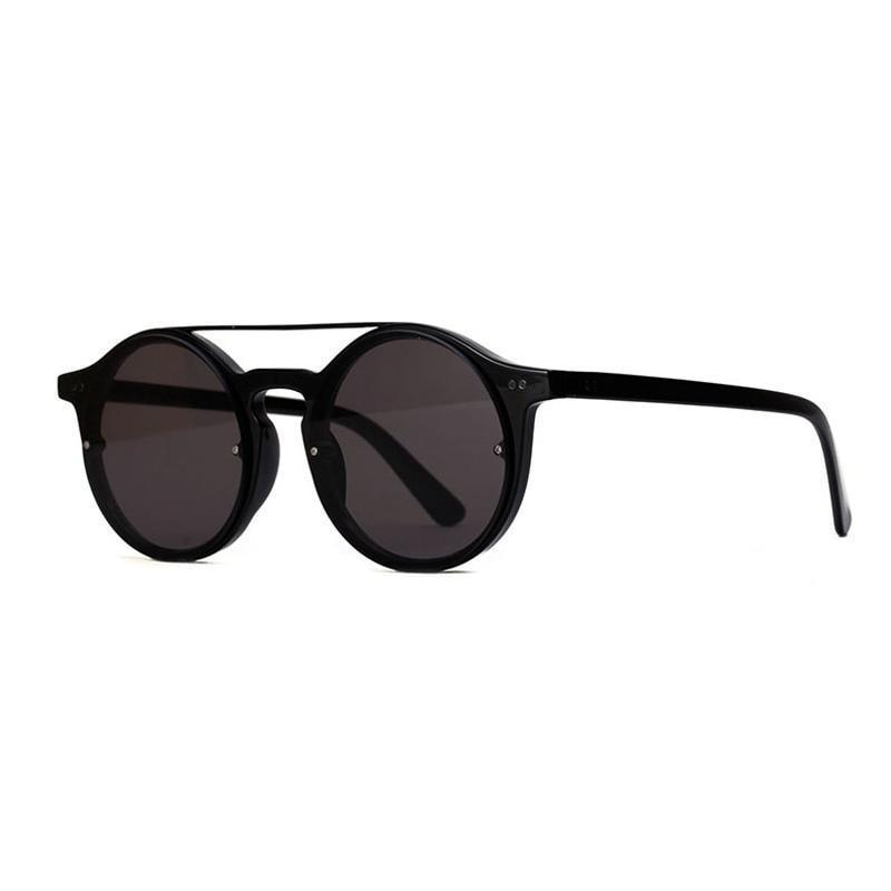Double Bridge Round High Fashion Sunglasses Sunglasses Loom Rack Black Black