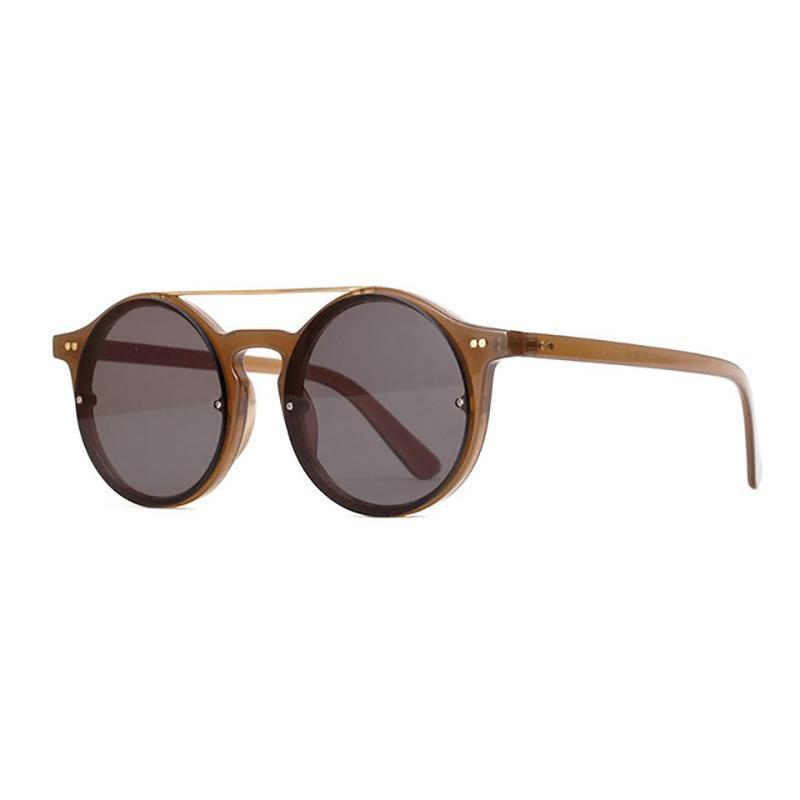 Double Bridge Round High Fashion Sunglasses Sunglasses Loom Rack Khaki Black