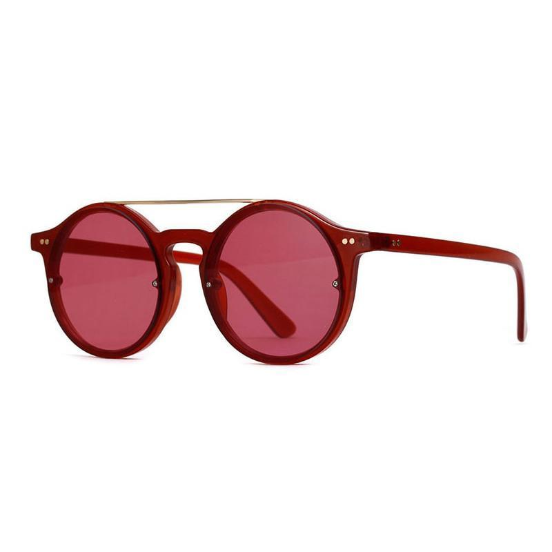 Double Bridge Round High Fashion Sunglasses Sunglasses Loom Rack Transparent Red