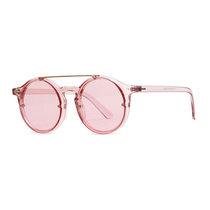 Double Bridge Round High Fashion Sunglasses Sunglasses Transparent Pink