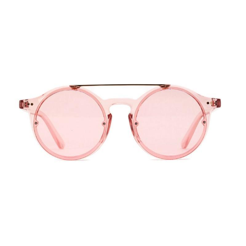 Double Bridge Round High Fashion Sunglasses Sunglasses Transparent Red