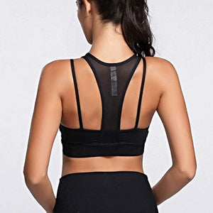 Dual Strap Mesh Crop Top Sports Bra Sports Bras Loom Rack