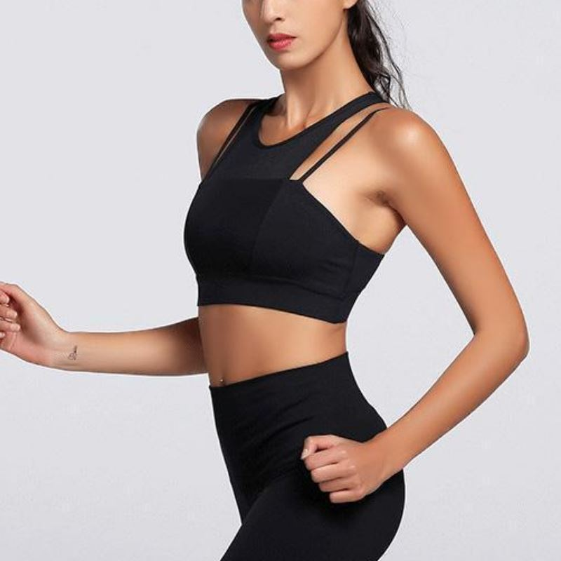Dual Strap Mesh Crop Top Sports Bra Sports Bras Loom Rack Black L