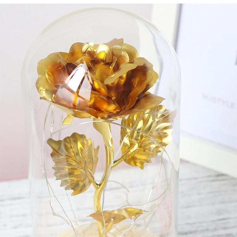 Encased Enchanted Rose Lights Gold