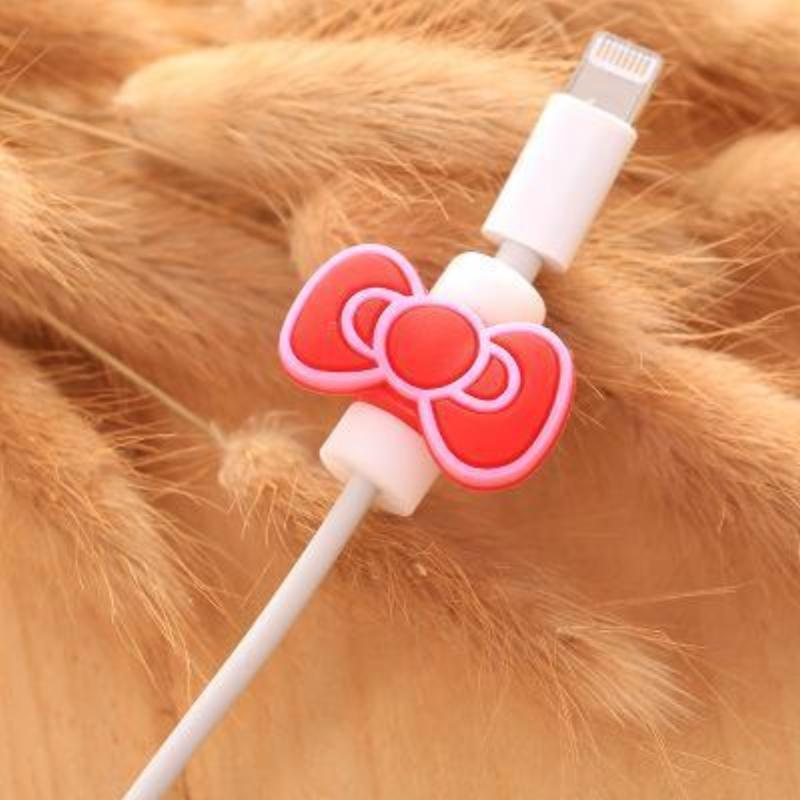 Fancy Cable Charger Protector Mobile Phone Accessories Loom Rack Butterfly - Red