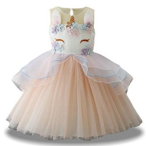 Fancy Unicorn Dress Dresses Loom Rack Beige 3T