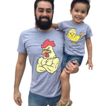 Father/Son Matching Tees Matching Outfits Loom Rack Big Chicken/Little Chicken Dad M