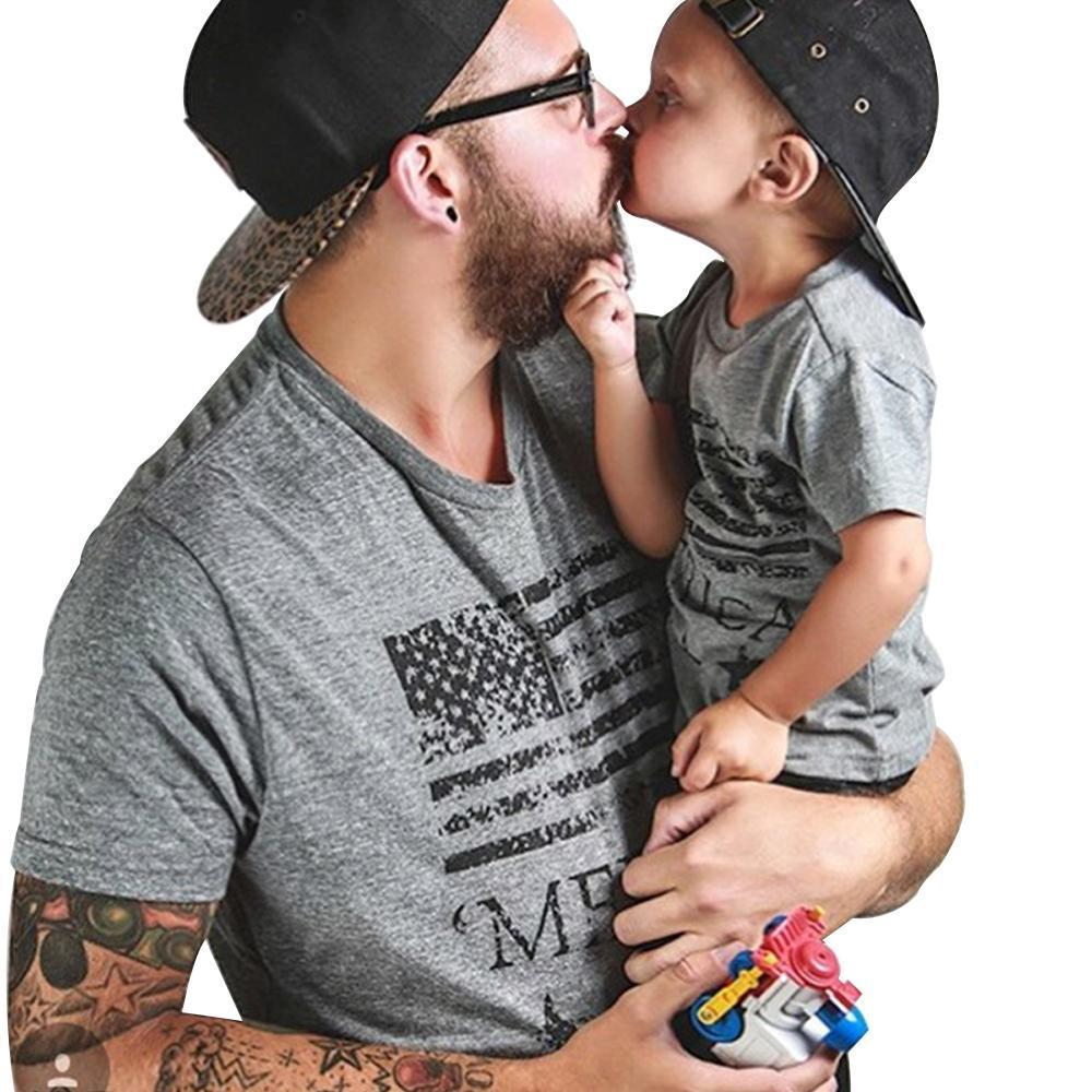 Father/Son Matching Tees Matching Outfits Loom Rack 'Merica, Like a Boss Dad M