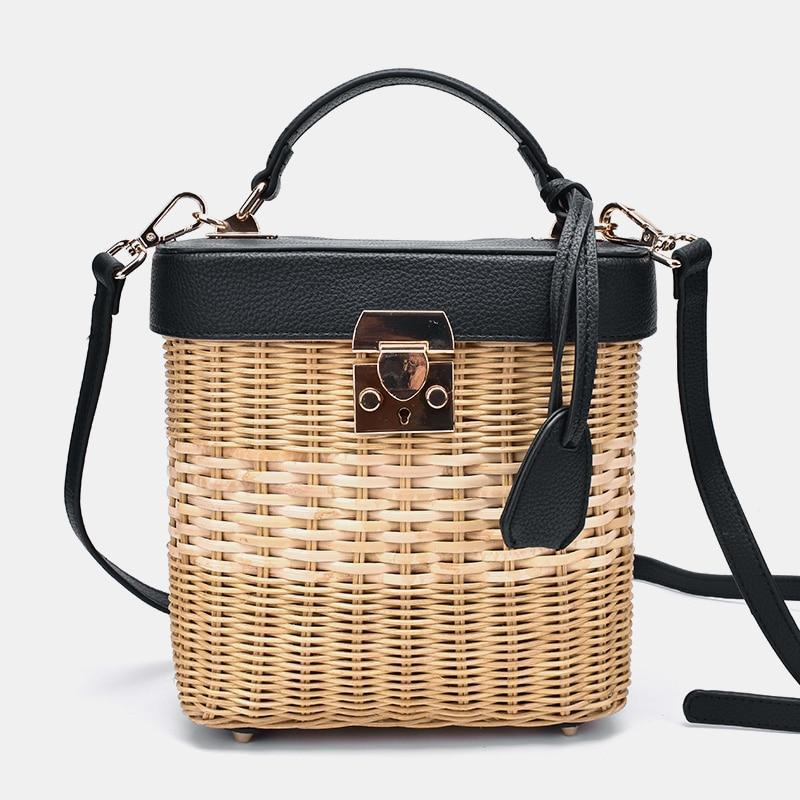 Faux Leather Strap Rattan Shoulder Bag Rattan Bags Black