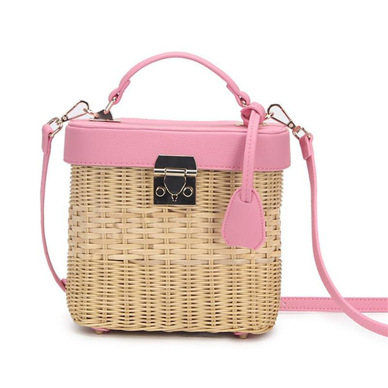 Faux Leather Strap Rattan Shoulder Bag Rattan Bags pink