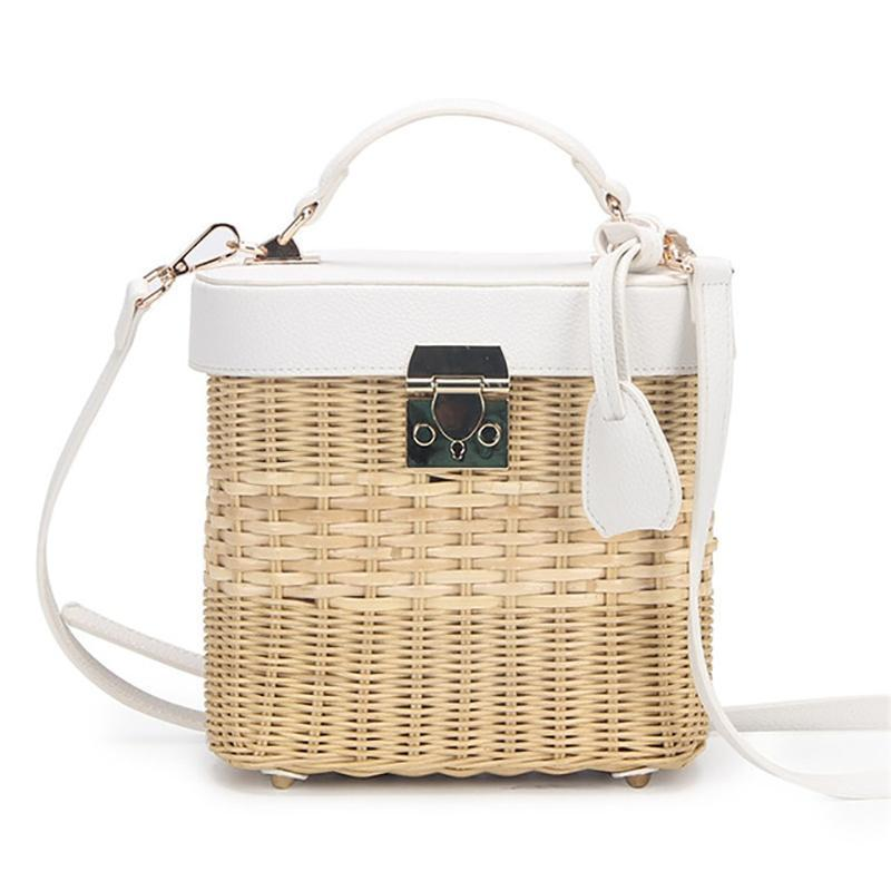 Faux Leather Strap Rattan Shoulder Bag Rattan Bags white