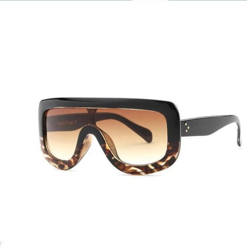 Feminine Shield Oversized Sunglasses Sunglasses Loom Rack Black Leopard