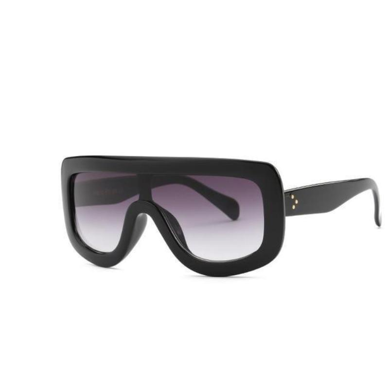 Feminine Shield Oversized Sunglasses Sunglasses Loom Rack Bright Black
