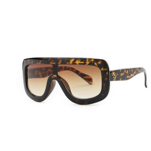 Feminine Shield Oversized Sunglasses Sunglasses Loom Rack Leopard