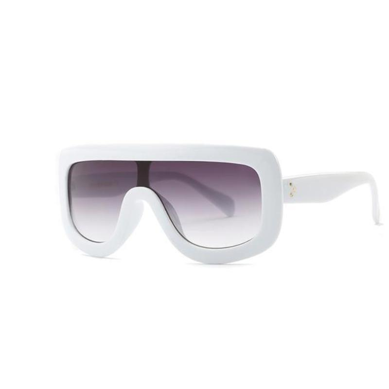 Feminine Shield Oversized Sunglasses Sunglasses Loom Rack White