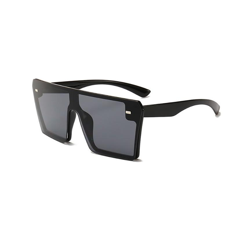 Flat Oversized Square Sunglasses Sunglasses Black Black