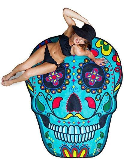 Funky Beach Mats and Sarongs - Assorted Styles Beach Mats Loom Rack Skull Head Blue