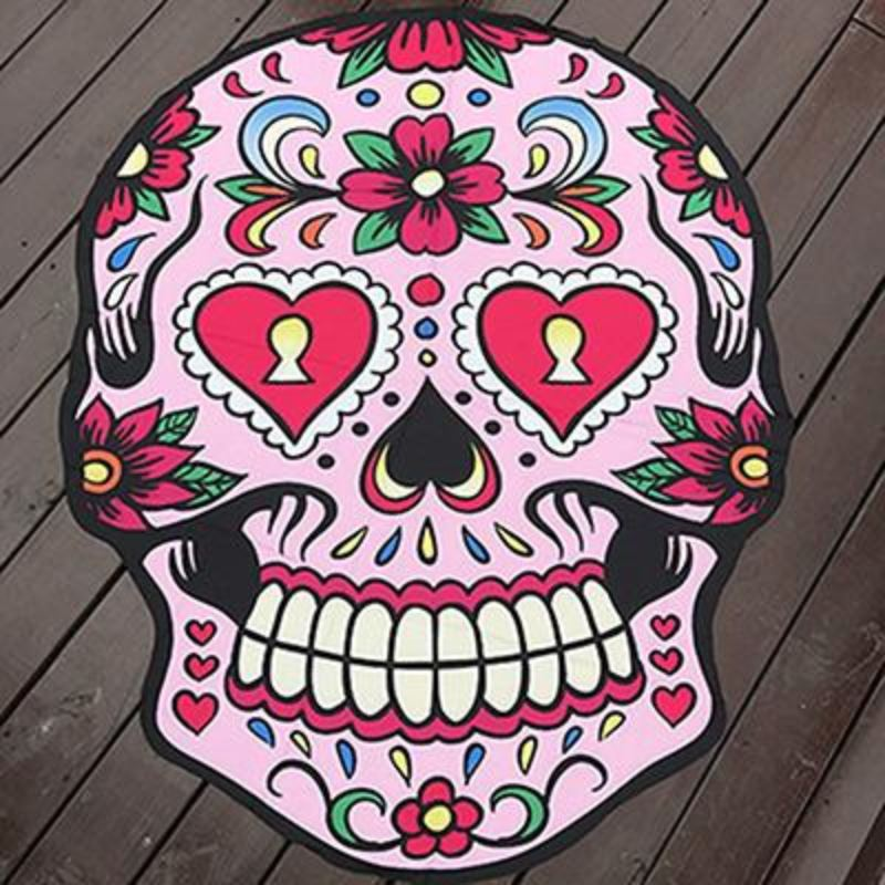 Funky Beach Mats and Sarongs - Assorted Styles Beach Mats Loom Rack Skull Head Pink