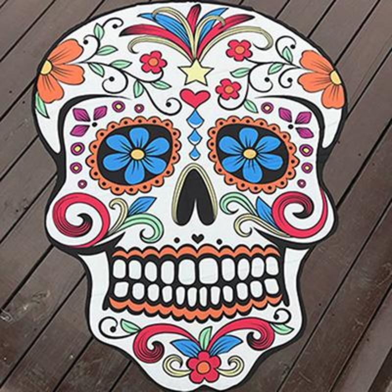 Funky Beach Mats and Sarongs - Assorted Styles Beach Mats Loom Rack Skull Head White