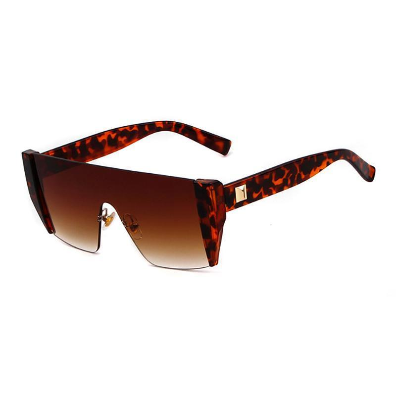 Futuristic Onepiece Edgy Sunglasses Sunglasses Loom Rack Brown Leopard