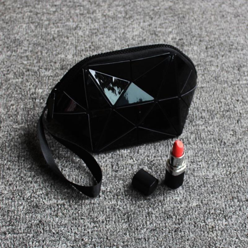 Geometric Foldable Makeup Bag Geometric Bags Loom Rack Black