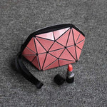 Geometric Foldable Makeup Bag Geometric Bags Loom Rack Pink