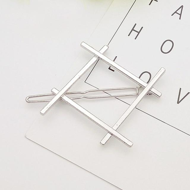 Geometric Metal Hair Pins Hair Accessories NO10rhombus silver