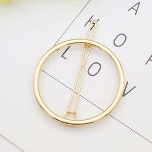 Geometric Metal Hair Pins Hair Accessories NO3Round gold