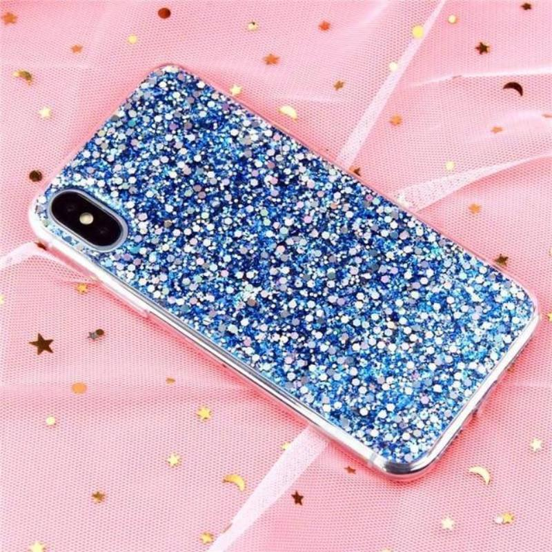 Glitter Crystal Sequins iPhone Cover X/ XR/ XS Max Phone Cases Loom Rack Blue i6-i6S(4.7inch)