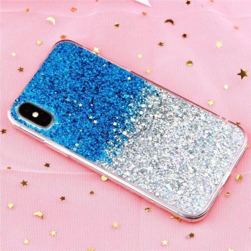 Glitter Crystal Sequins iPhone Cover X/ XR/ XS Max Phone Cases Loom Rack Gradient Blue i6-i6S(4.7inch)