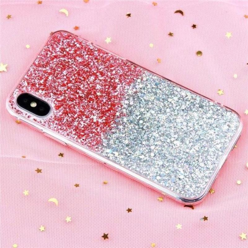 Glitter Crystal Sequins iPhone Cover X/ XR/ XS Max Phone Cases Loom Rack Gradient Pink i6-i6S(4.7inch)
