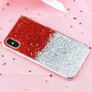 Glitter Crystal Sequins iPhone Cover X/ XR/ XS Max Phone Cases Loom Rack Gradient Red i6-i6S(4.7inch)