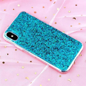 Glitter Crystal Sequins iPhone Cover X/ XR/ XS Max Phone Cases Loom Rack Green i6-i6S(4.7inch)