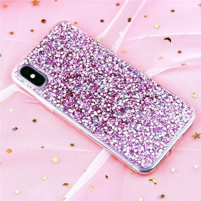 Glitter Crystal Sequins iPhone Cover X/ XR/ XS Max Phone Cases Loom Rack Purple i6-i6S(4.7inch)