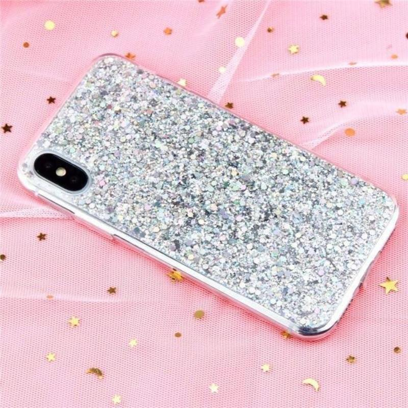 Glitter Crystal Sequins iPhone Cover X/ XR/ XS Max Phone Cases Loom Rack Silver i6-i6S(4.7inch)