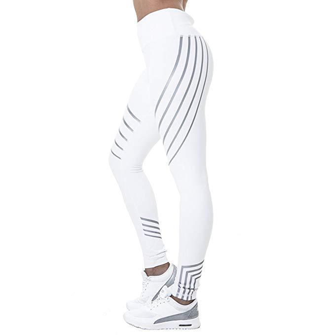 Glow in the Dark Multi-Reflective Compression Leggings Leggings Loom Rack White S