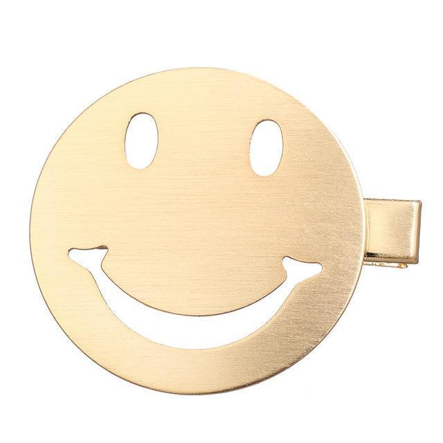 Gold Metal Hair Pins HairClips Loom Rack Smile Gold