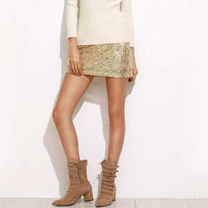 Gold Sequin Mini Skirt Women's skirts Loom Rack