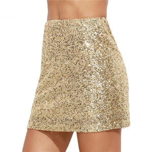 Gold Sequin Mini Skirt Women's skirts Loom Rack Gold XS